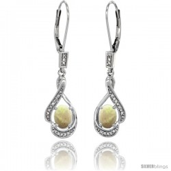 14K White Gold Natural Opal Lever Back Earrings, 1 7/16 in long