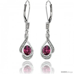 14K White Gold Natural Rhodolite Lever Back Earrings, 1 7/16 in long