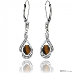 14K White Gold Natural Tiger Eye Lever Back Earrings, 1 7/16 in long