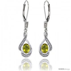 14K White Gold Natural Lemon Quartz Lever Back Earrings, 1 7/16 in long