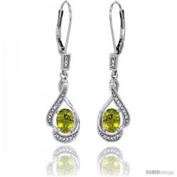 14K White Gold Natural Lemon Quartz Lever Back Earrings, 1 7/16 in long