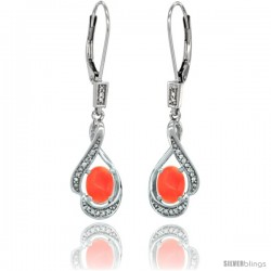 14K White Gold Natural Coral Lever Back Earrings, 1 7/16 in long