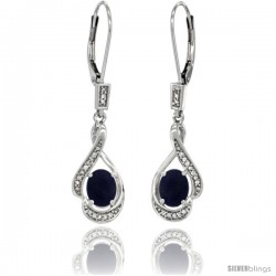 14K White Gold Natural Lapis Lever Back Earrings, 1 7/16 in long