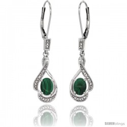 14K White Gold Natural Malachite Lever Back Earrings, 1 7/16 in long