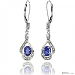 14K White Gold Natural Tanzanite Lever Back Earrings, 1 7/16 in long