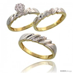 10k Yellow Gold Diamond Trio Engagement Wedding Ring 3-piece Set for Him & Her 5 mm & 4 mm wide 0.10 cttw Brilliant Cut