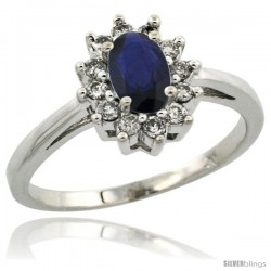 14k White Gold ( 6x4 mm ) Halo Engagement Created Blue Sapphire Ring w/ 0.212 Carat Brilliant Cut Diamonds & 0.45 Carat Oval