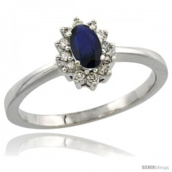 14k White Gold ( 5x3 mm ) Halo Engagement Created Blue Sapphire Ring w/ 0.12 Carat Brilliant Cut Diamonds & 0.20 Carat Oval Cut