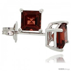 14K White Gold 4 mm Garnet Square Stud Earrings 1/2 cttw January Birthstone