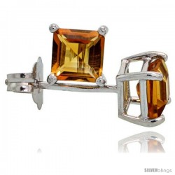 14K White Gold 4 mm Citrine Square Stud Earrings 1/2 cttw November Birthstone
