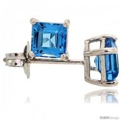 14K White Gold 4 mm Blue Topaz Square Stud Earrings 1/2 cttw December Birthstone