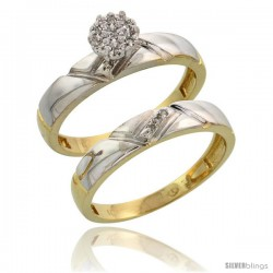 10k Yellow Gold Diamond Engagement Rings Set 2-Piece 0.07 cttw Brilliant Cut, 5/32 in wide -Style 10y012e2