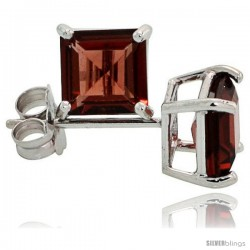14K White Gold 5 mm Garnet Square Stud Earrings 1 cttw January Birthstone