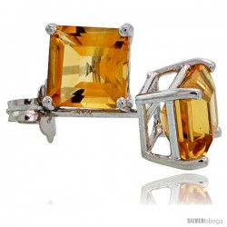 14K White Gold 5 mm Citrine Square Stud Earrings 1 cttw November Birthstone