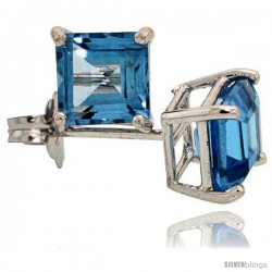 14K White Gold 5 mm Blue Topaz Square Stud Earrings 1 cttw December Birthstone