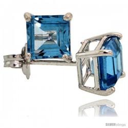 14K White Gold 5 mm Blue Topaz Square Stud Earrings 1 cttw December Birthstone