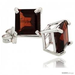 14K White Gold 6 mm Garnet Square Stud Earrings 2 cttw January Birthstone