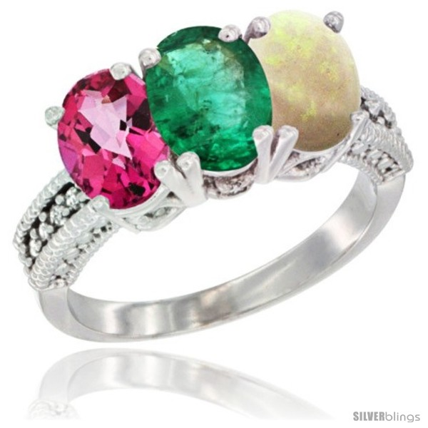 https://www.silverblings.com/77660-thickbox_default/10k-white-gold-natural-pink-topaz-emerald-opal-ring-3-stone-oval-7x5-mm-diamond-accent.jpg