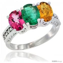 10K White Gold Natural Pink Topaz, Emerald & Whisky Quartz Ring 3-Stone Oval 7x5 mm Diamond Accent