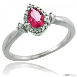 10k White Gold Diamond Pink Topaz Ring 0.33 ct Tear Drop 6x4 Stone 3/8 in wide