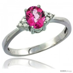 10K White Gold Natural Pink Topaz Ring Oval 7x5 Stone Diamond Accent