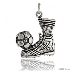 Sterling Silver Soccer Ball & Shoe Pendant Flawless Quality, 7/8 in (22 mm) tall