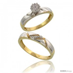 10k Yellow Gold Diamond Engagement Rings 2-Piece Set for Men and Women 0.08 cttw Brilliant Cut, 4mm & 4.5mm wide