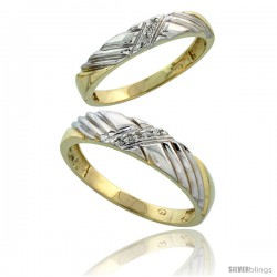 Gold Plated Sterling Silver Diamond 2 Piece Wedding Ring Set His 5mm & Hers 3.5mm -Style Agy118w2