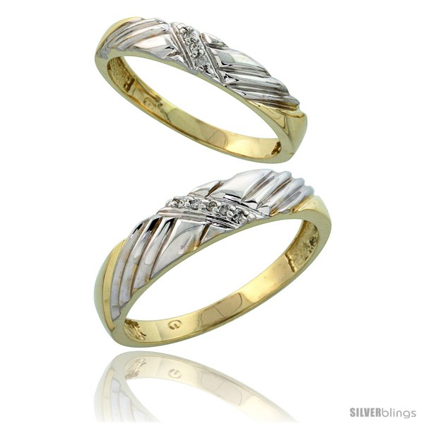 Gold Plated Sterling Silver Diamond 2 Piece Wedding Ring Set His 5mm & He