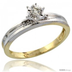 Gold Plated Sterling Silver Diamond Engagement Ring, 1/8 in wide -Style Agy119er