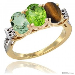 10K Yellow Gold Natural Green Amethyst, Peridot & Tiger Eye Ring 3-Stone Oval 7x5 mm Diamond Accent