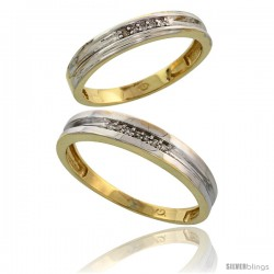Gold Plated Sterling Silver Diamond 2 Piece Wedding Ring Set His 4mm & Hers 3.5mm -Style Agy119w2