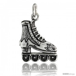 Sterling Silver Roller Blade Pendant Flawless Quality, 3/4 in (19 mm) tall