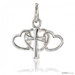 Sterling Silver Triple Heart Cross Pendant Flawless Quality, 1/2 in (12 mm) tall