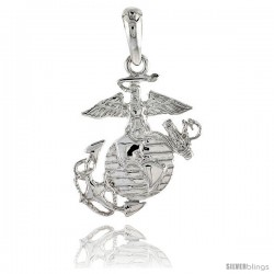 Sterling Silver U.S. Marines Eagle Globe & Anchor Pendant Flawless Quality, 7/8 in (23 mm) tall