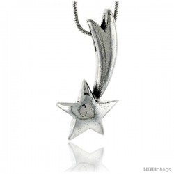 Sterling Silver Shooting Star Pendant, 1 1/4 in (32 mm) tall