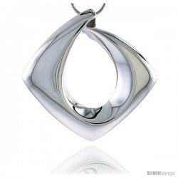 Sterling Silver Diamond-shaped Pendant Flawless Quality, Slide1 1/2 in (38 mm) tall