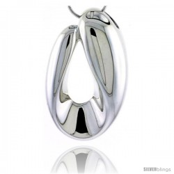 Sterling Silver Oval Pendant / Slide,1 3/8 in (36 mm) tall