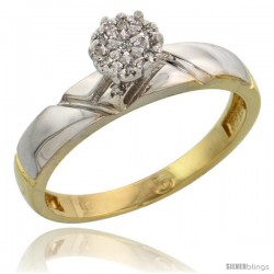 10k Yellow Gold Diamond Engagement Ring 0.05 cttw Brilliant Cut, 5/32 in wide -Style 10y012er