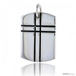 Sterling Silver Dog Tag Pendant w/ Cross, 1 1/8 in (29 mm) tall
