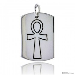 Sterling Silver Dog Tag w/ Egyptian Ankh, 1 3/16 in (30 mm) tall
