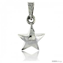 Sterling Silver Polished Star Pendant, 1/2 in (13 mm) tall