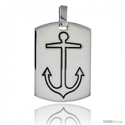 Sterling Silver Dog Tag w/ Mariners Cross Anchor, 1 3/16 in (30 mm) tall