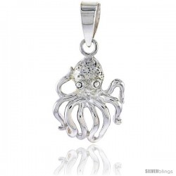 Sterling Silver Octopus Pendant 3/4 in (19 mm) tall