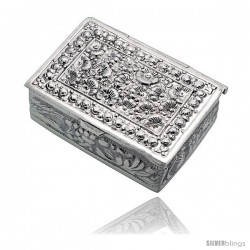 "Sterling Silver Floral Embossed Pill Box, 1 9/16"" x 1 1/8"" (40 mm x 29 mm) Rectangular Shape"