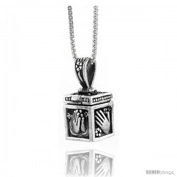 Sterling Silver Prayer Box with Praying Hand Design