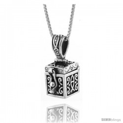 Sterling Silver Prayer Box with Christian Fish Design