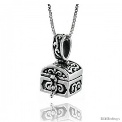 Sterling Silver Prayer Box Chest Shaped with Floral Design
