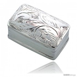 "Sterling Silver Pill Box, 1 1/16"" x 5/8"" (27 mm x 17 mm) Rectangular Shape, Engraved Finish"