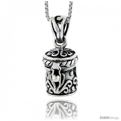 Sterling Silver Prayer Box with Floral Design -Style Pb32
